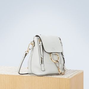 Chloé Faye Mini Light Grey Leather/Suede Backpack